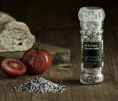 Sal de Añana Molinillo de Sal mineral de Manantial con Aceituna Negra 75g