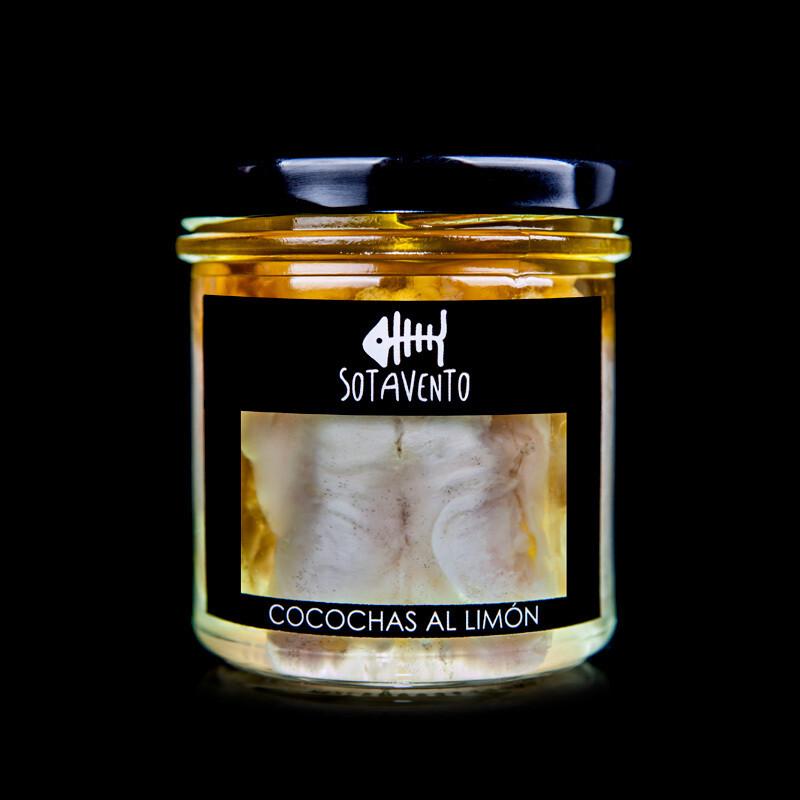 Cocochas curadas de Bacalao al limón en Aceite de Oliva Virgen Extra (AOVE) - Sotavento Conservas Artesanas