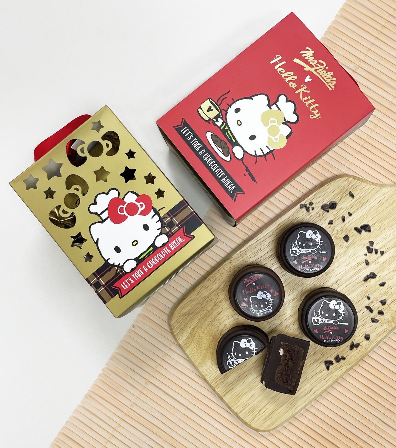 Hello Kitty ♥️ Mrs Fields Brownie Chocolate Mooncake Lantern Gift Box (For sale in Mrs Fields Cookies Store after online order closed on 3/8)