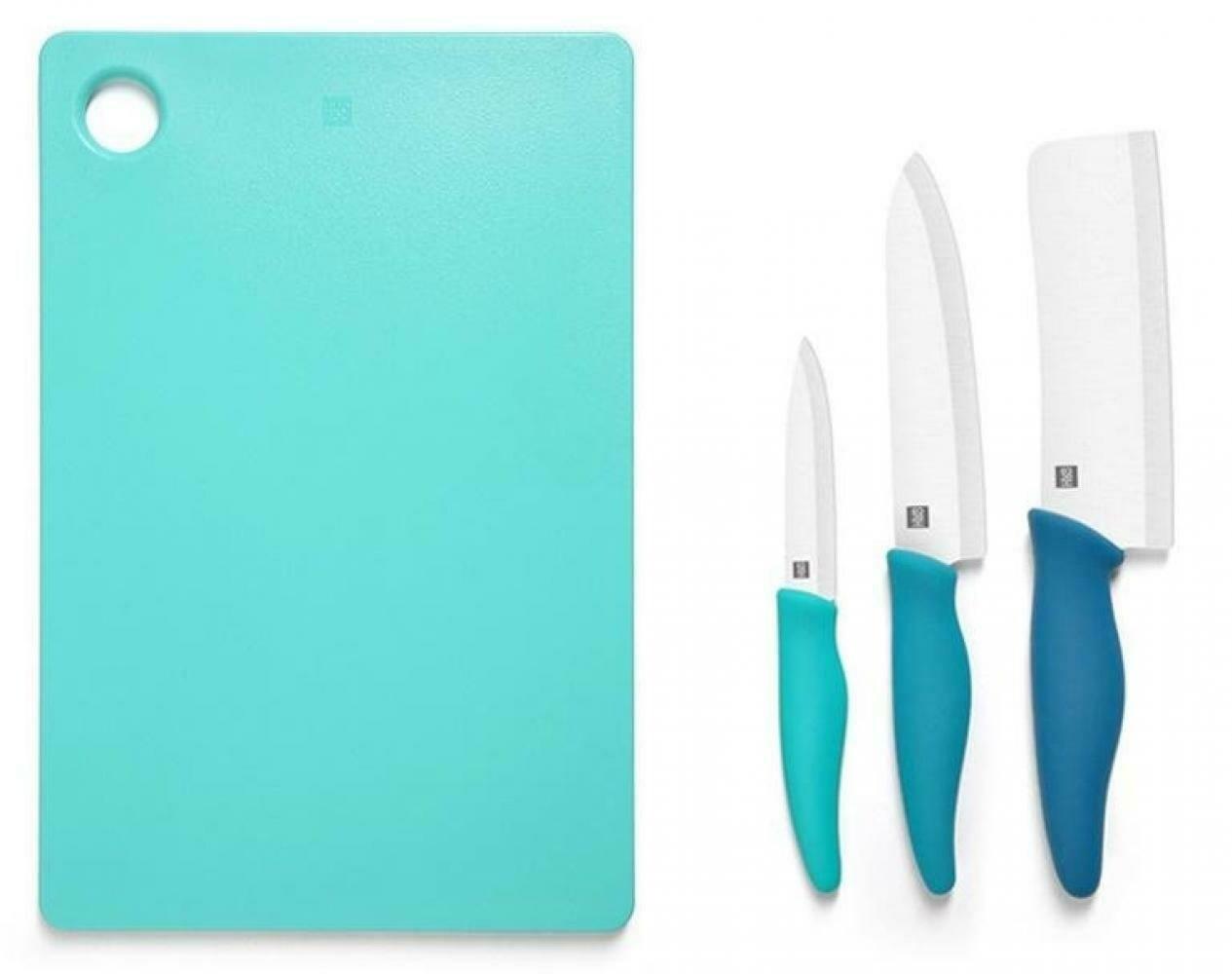 Набор Xiaomi Hot ceramic HU0020, 3 ножа и доска, голубой