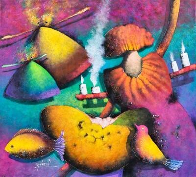 Gustavo Didacio - Musa con Pajaro y Fruta