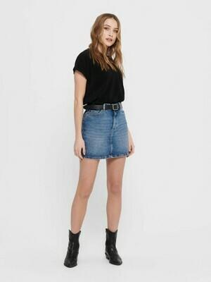 Kort denim nederdel i let A-form