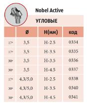 Мультиюниты угловые 30º NOBEL CONICAL CONNECTION с винтом Код/размер: 0336 - 3,5 (3,5мм); 0337 - 3,5 (4,5мм); 0340 - 4,3/5,0 (3,5мм); 0341 - 4,3/5,0 (4,5мм)