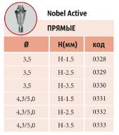 Мультиюниты прямые NOBEL CONICAL CONNECTION с винтом диаметры: 3,5 мм, 4,3/5,0 мм шейки: 1,5 мм, 2,5 мм, 3,5 мм