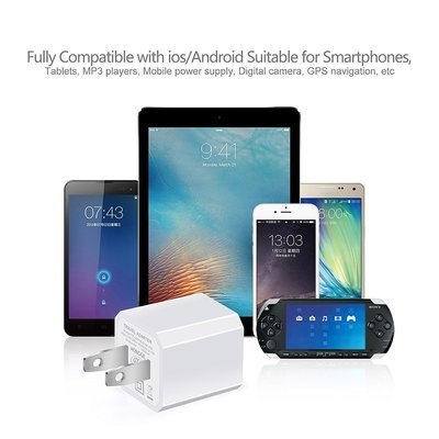USB Wall Charger, 5V/1A Universal Portable Travel Adapter High Speed 1.0A Output for iPhone iPad Samsung HTC LG iPod Nokia