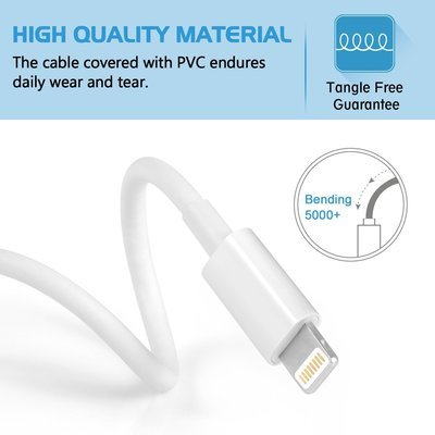 iPhone Charger 6' Lightning Cable 8-Pin Lightning to USB Charging Cord Compatible with iPhone 5 and Newer