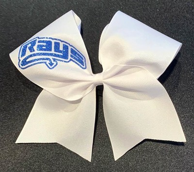 Big White Bow with Blue Rays