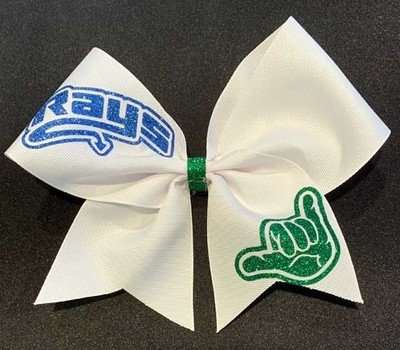 Big White Bow with Blue Rays/Green Hand