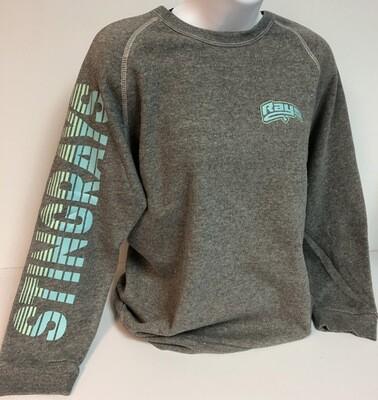 Stingrays GRAY Stripe Sleeve Crewneck Sweatshirt