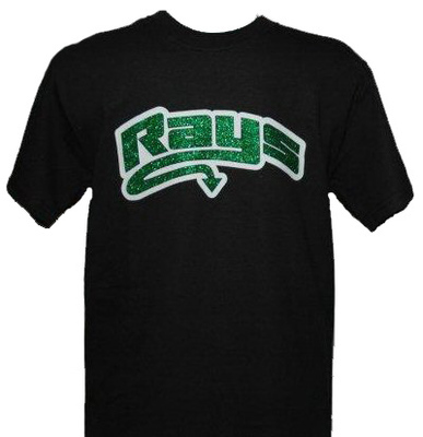 Black T-shirt with  Green Glitter Rays