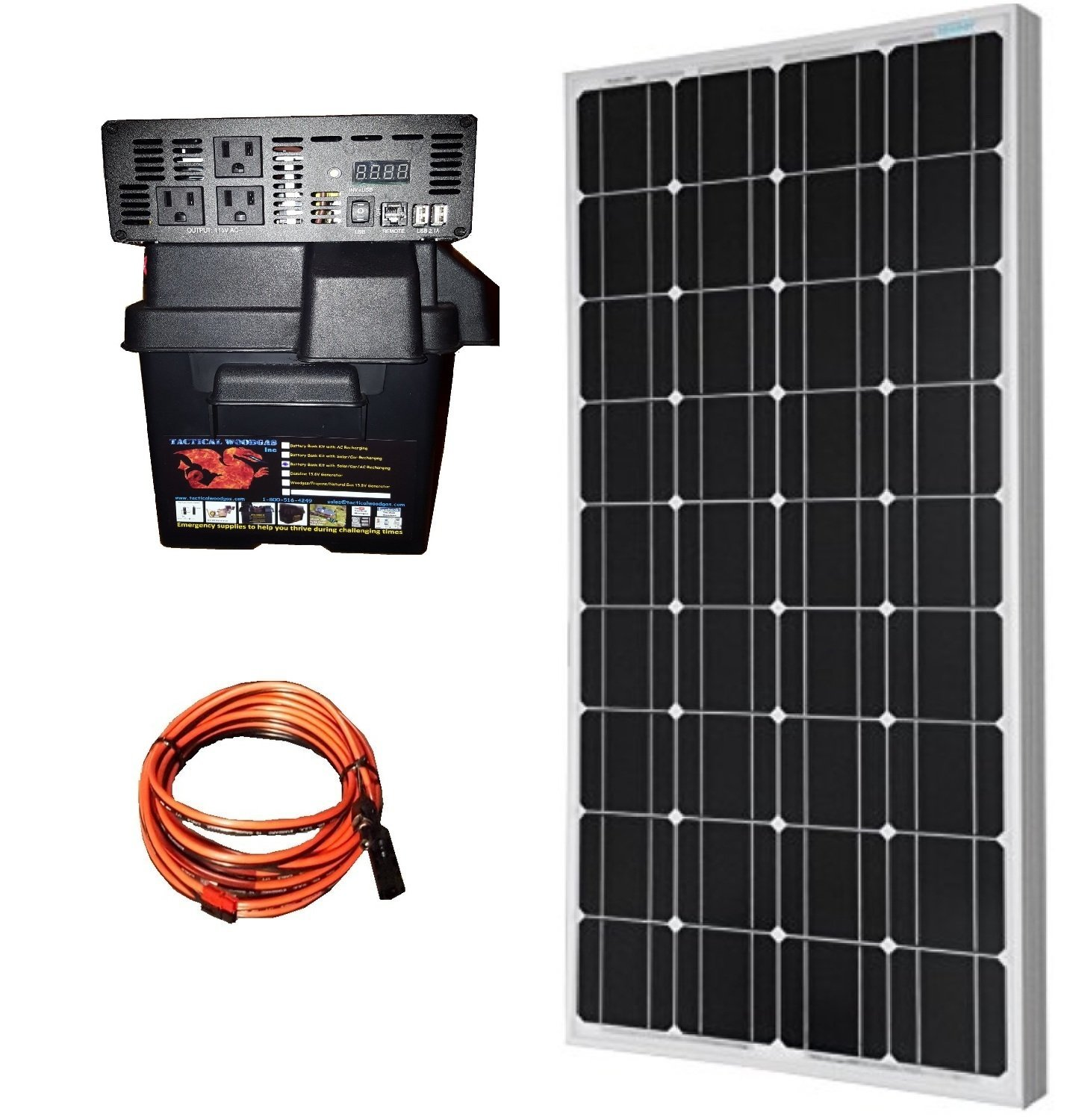 3000W Battery Bank PLUS 100W solar panel & connecting cable