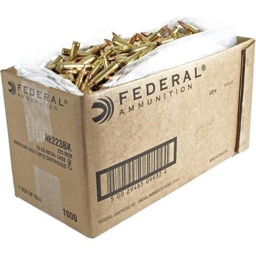 Federal American Eagle .223 Rem Rifle Ammunition, 55 gr. FMJ, 1000 Bulk Case