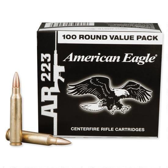Federal American Eagle .223 Rem Rifle Ammunition, 55 gr. FMJ, 100RD BOX