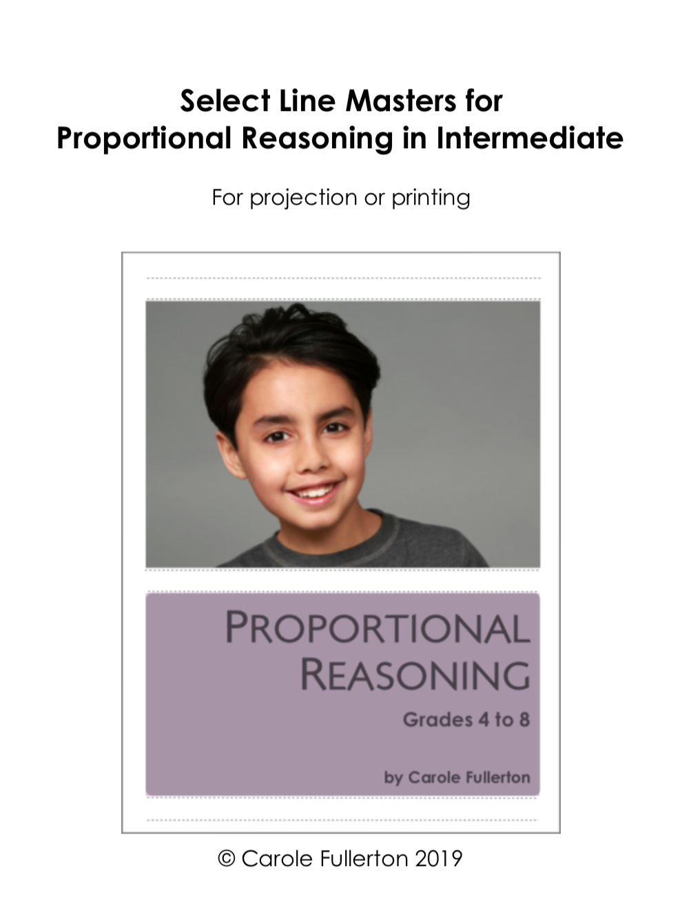 Proportional Reasoning In Intermediate Line Masters Package