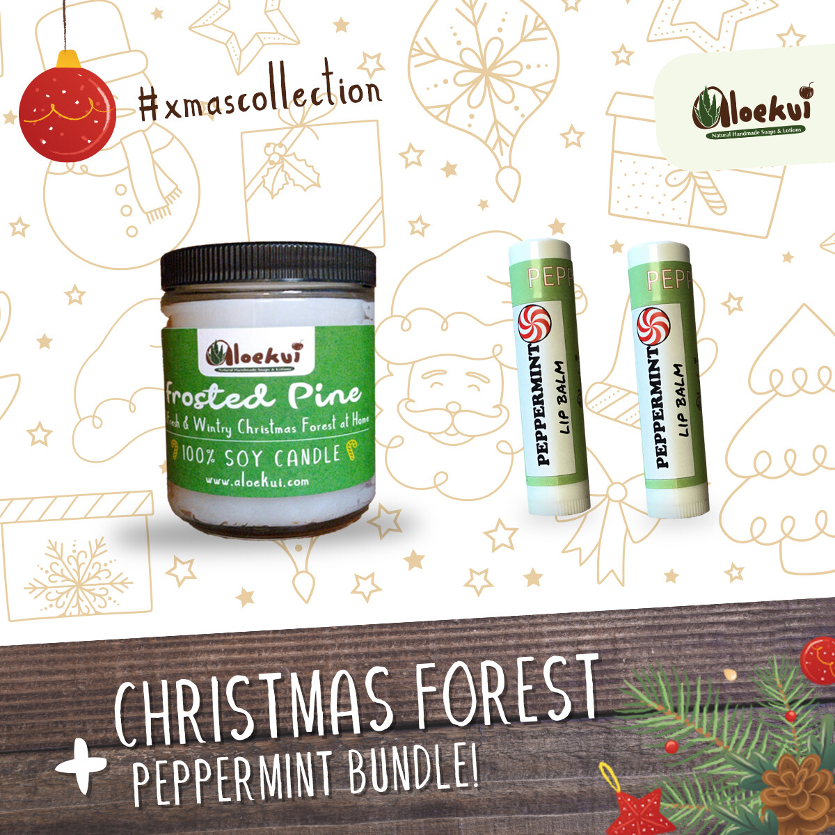 Frosted Pine Soy Candle/ 2 Pepp. Lip Balms