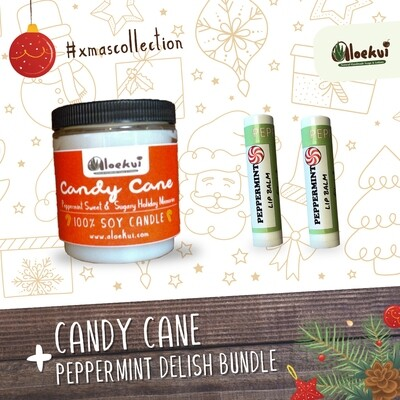 Candy Cane  Soy Candle/ 2 Pepp. Lip Balms