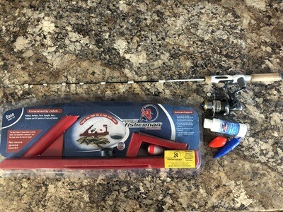 Automatic fisherman base and 35 inch medium rod and reel combo with ice stopper