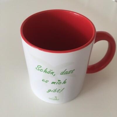 Ohrinsel-Tasse [ROT - Grüne Schrift] - Schön, dass es dich / mich gibt