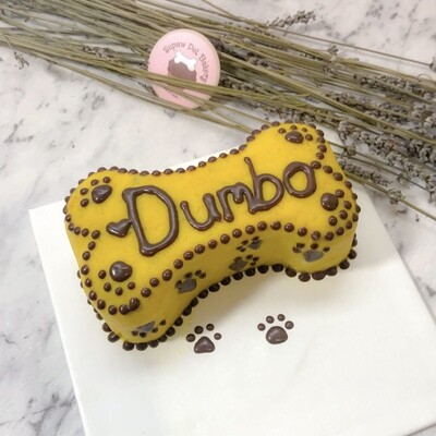 Bone Shape Cake w/ Peanut Butter Carob Icing| For 1 big pup  | No Parcel Shipping