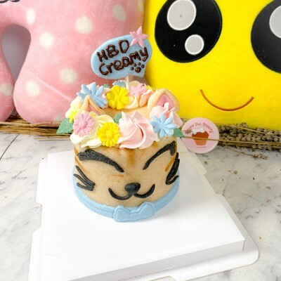 Floral Crown Cat Cake |  No Parcel Shipping