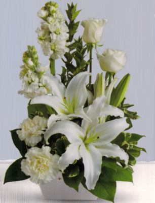 Seasonal White Mixed Arrangement DB001