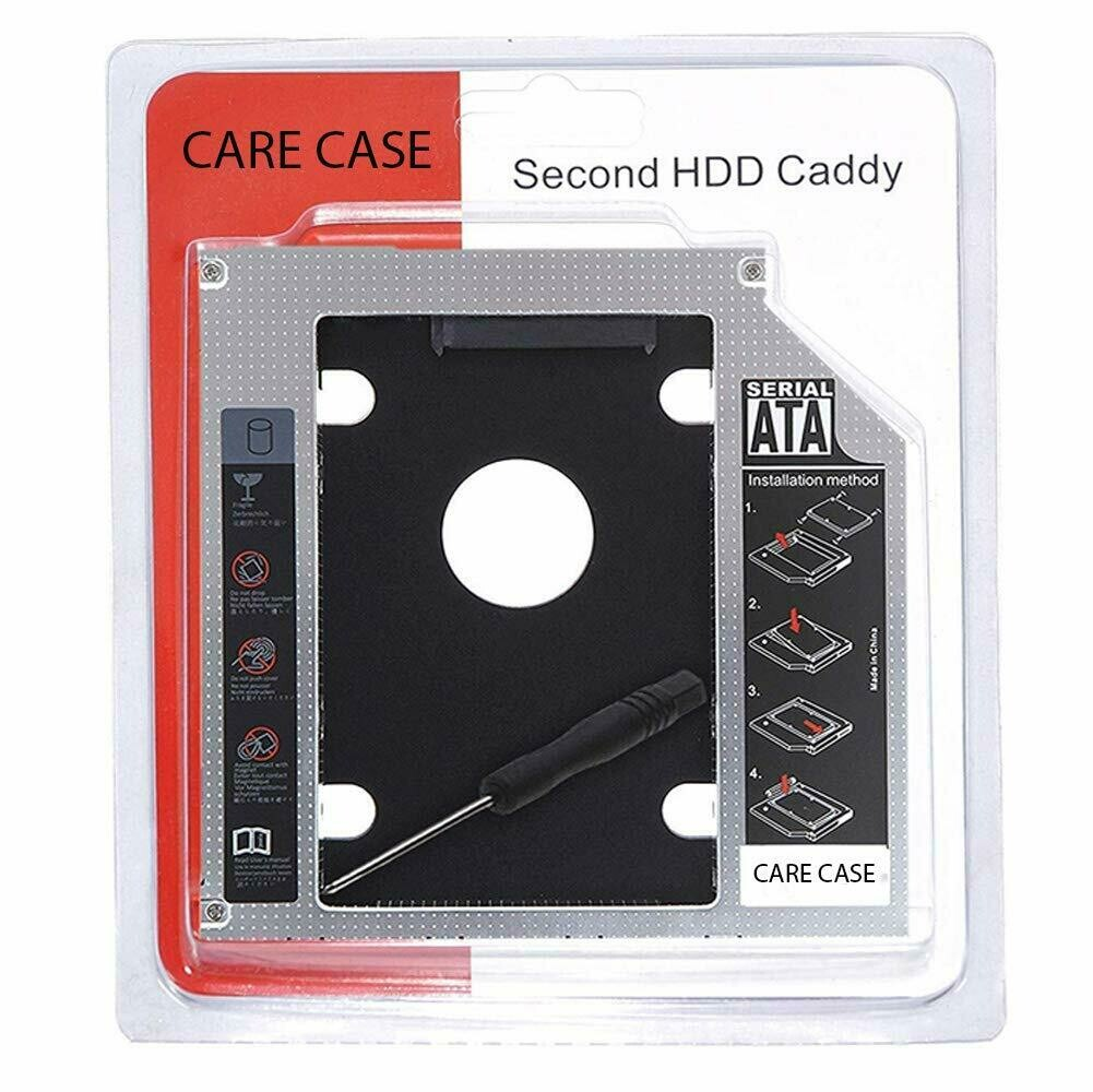 Optical Bay 2nd Hard Drive Caddy, 9.5 mm CD/DVD Drive Slot for SSD and HDD