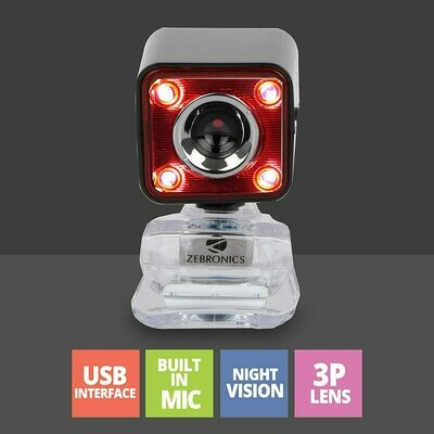 Zebronics Zeb-Crystal Pro Web Camera with USB Powered,3P Lens,Night Vision and Built-in Mic(RED)