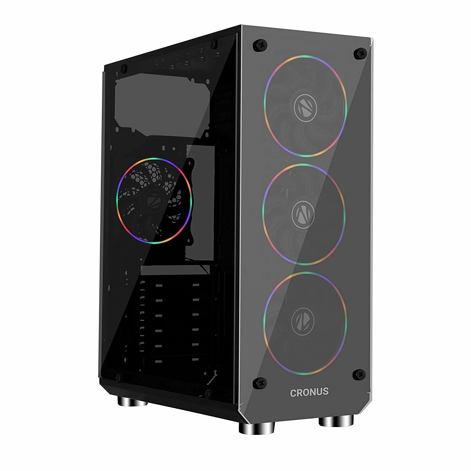 Zebronics Zeb-Cronus Premium Gaming Cabinet with Mirror Finish Tempered Glass On Front,Tempered Glass On Side & 4 x120mm Rainbow Double Ring LED Fans