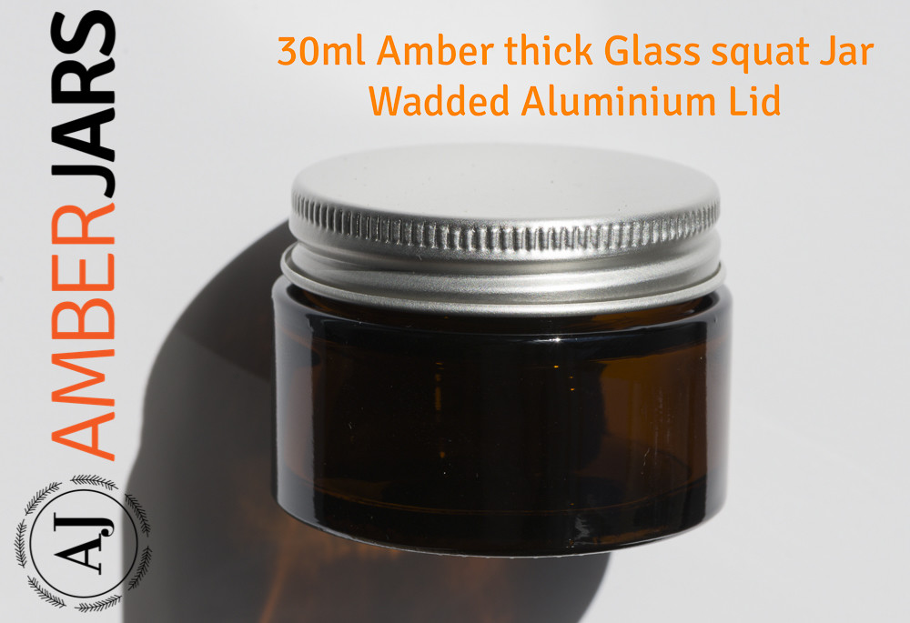 30ml Amber Glass SQUAT Jar with Aluminium Lid