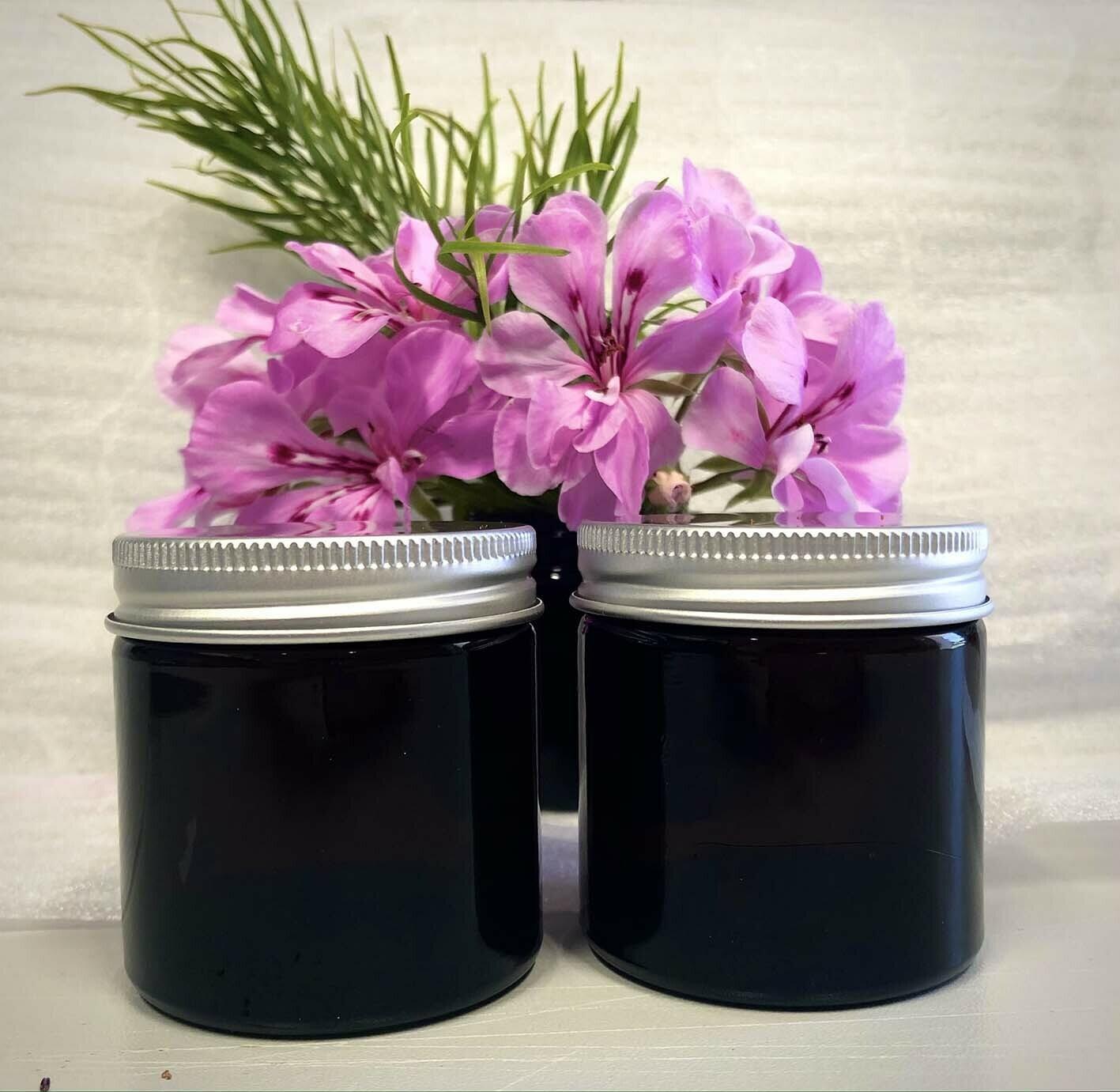 60ml Glass Amber Jars with Silver Aluminium Lid.