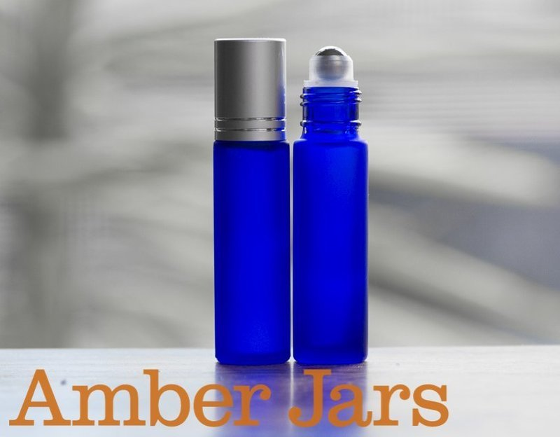 10ml Frosted Blue glass Roller ball Bottle Stainless Steel ball- Aromatherapy / perfume S