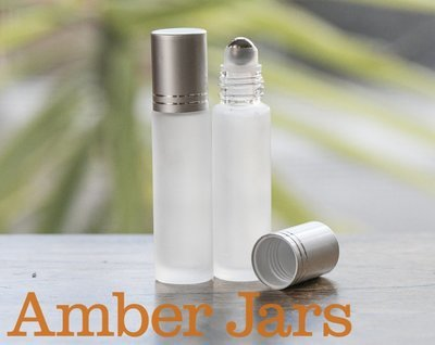 10ml Frosted Clear glass Roller ball Bottle Stainless Steel ball- Aromatherapy / perfume