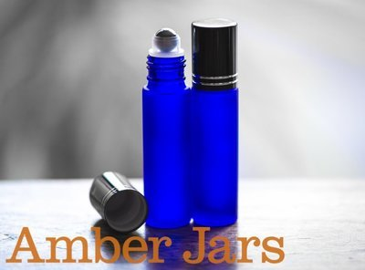 10ml Frosted Blue glass Roller ball Bottle Stainless Steel ball- Aromatherapy / perfume B