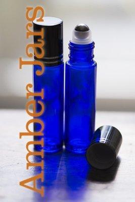 10ml Blue glass Roller ball Bottle Stainless Steel ball- Aromatherapy / perfume B