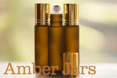 10ml Frosted Amber glass Roller ball Bottle Stainless Steel ball- Aromatherapy / perfume G
