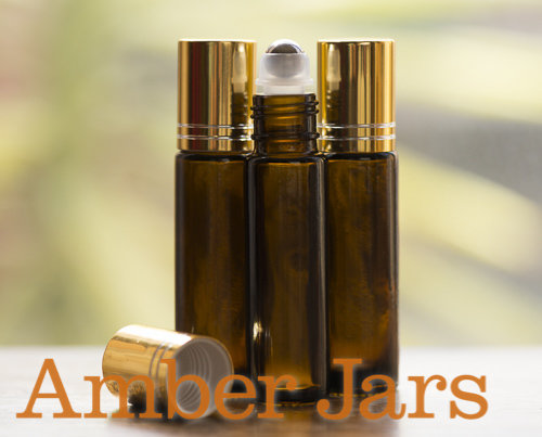 10ml Amber glass Roller ball Bottle Stainless Steel ball- Aromatherapy / perfume G