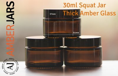 30ml Amber Glass SQUAT Jar with Black Wadded Lid