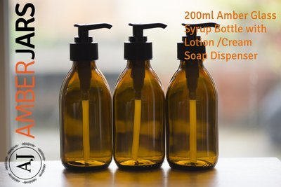 200ml Amber Glass Syrup Bottles / Lotion PUMP / Soap Dispenser