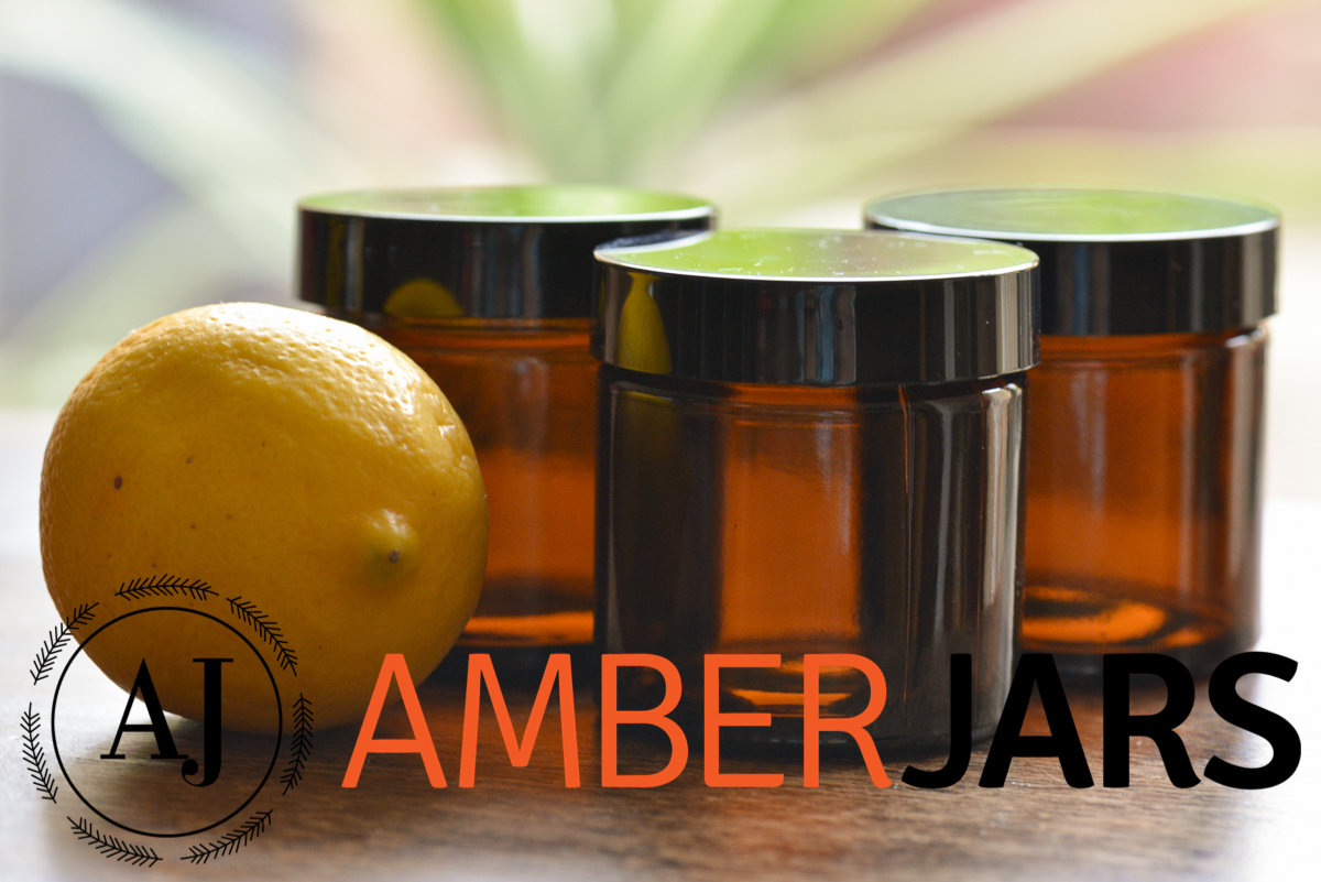 60ml Glass Amber Jars with Black Wadded Lid. DIY Cosmetics Candles Spice