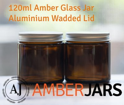 120ml Glass Amber Jars with ALUMINIUM Wadded Lid. DIY Cosmetics Candles Spice