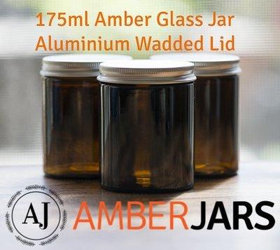 175ml Glass Amber Jars with Wadded ALUMINIUM Lid.