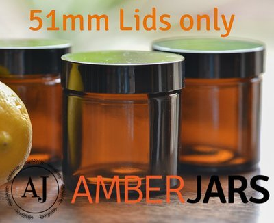51mm Black ABS Wadded Lid for 60ml Jar - LIDS ONLY