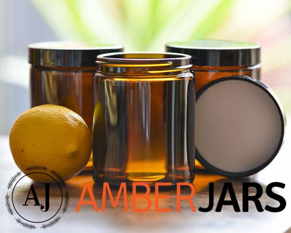 60 x 175ml Glass Amber Jars - Candle Spice Coffee Skincare