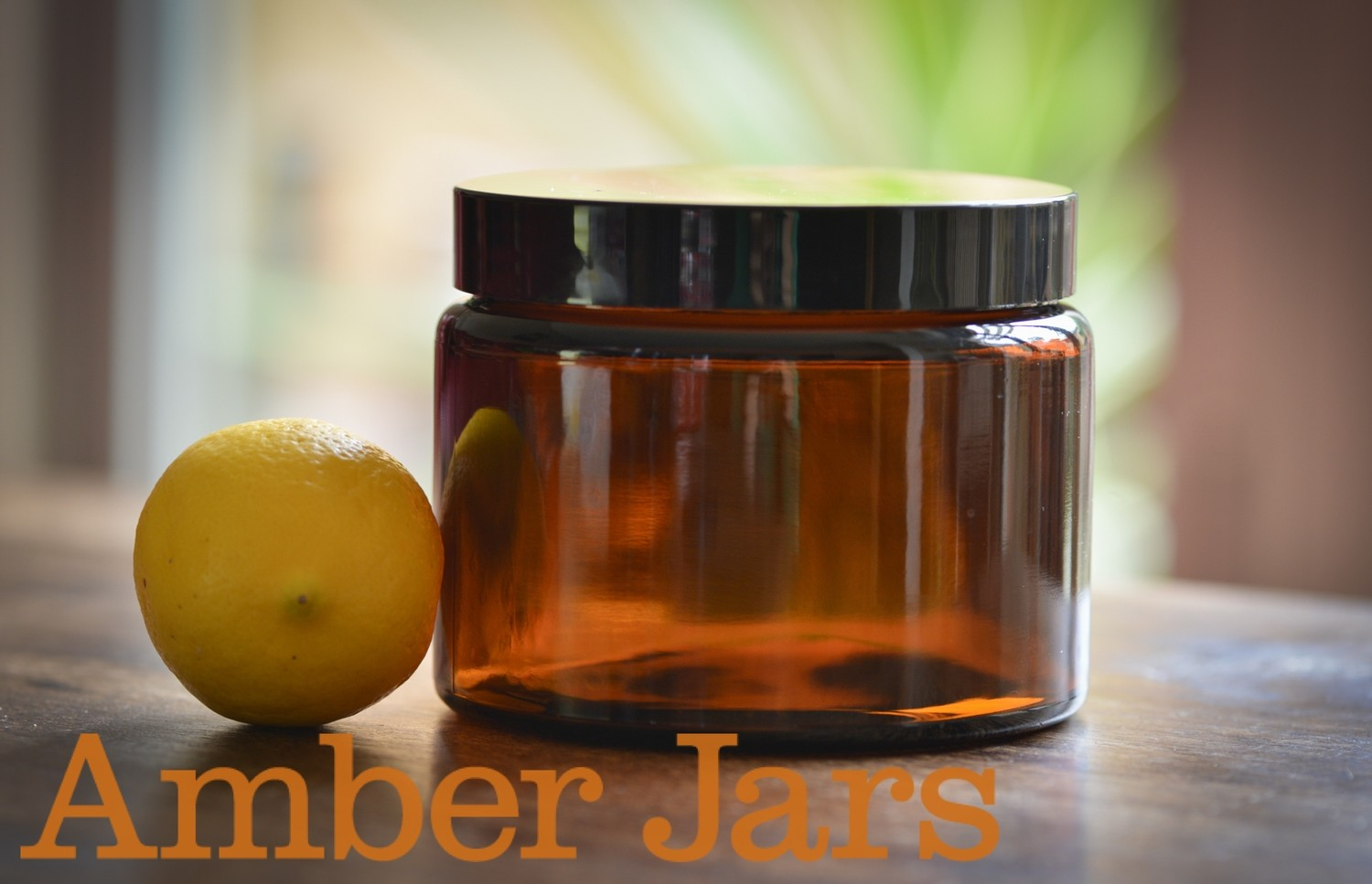24 x 500ml Glass Amber Jars with Black Wadded Lid.