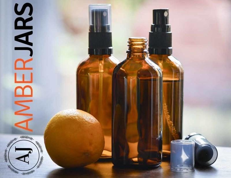 100ml Amber Glass Bottle with Fine Mist Spray - Aromatherapy Spray