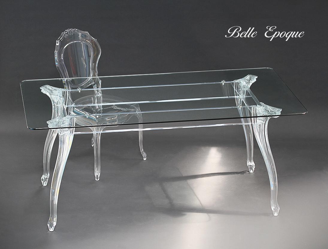 Tavolo Belle Epoque rettangolare clear