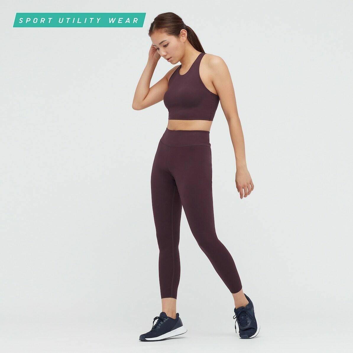 WOMEN AIRISM UV PROTECTION ACTIVE SOFT LEGGINGS (comprimento padrão 58,5 a 60,5 cm) - 19 WINE