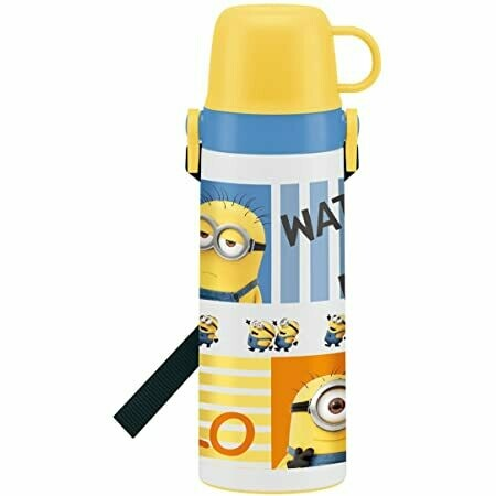 Minions 3 Children's Water Bottle with Cup, Stainless Steel 600ml
