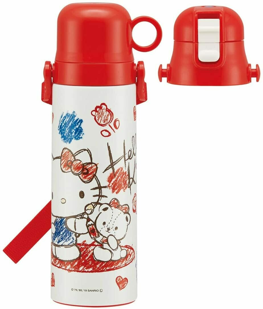 Hello Kitty Children's Water Bottle with Cup, Stainless Steel 570ml