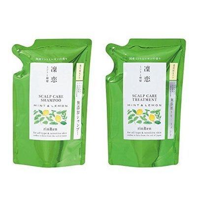 RinRen Scalp Care Treatment Mint & Lemon Shampoo / Conditioner Refil Set